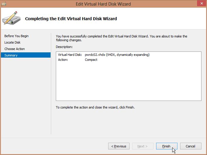 Edit Virtual Hard Disk WIzard - Summary