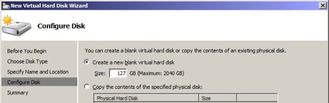 Specify the size of your Virtual Hard Disk Drive.
