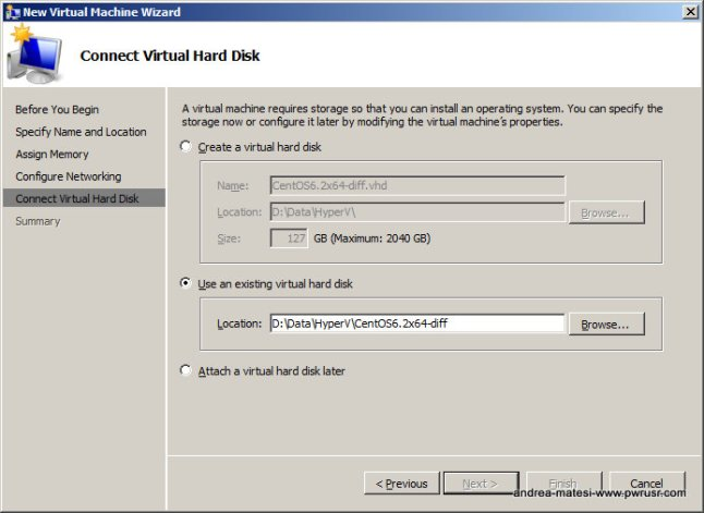 Specify the Child VHD to attach to your New Child VM.
