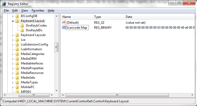 Registry Editor window showing you where to add the Scancode Map binary value.