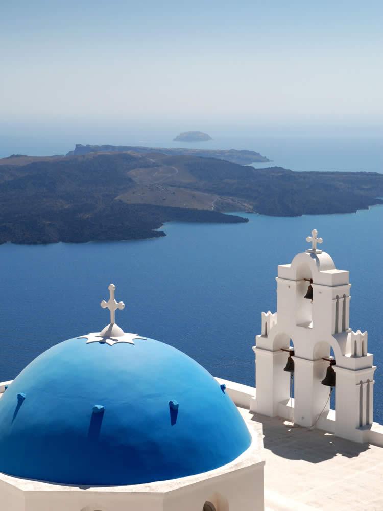 Blue-domed Church in Santorini