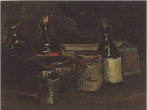 Still Life with Bottles and Earthenware
