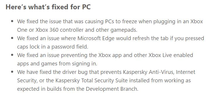 Windows 10 Build 14295 ISO Bug fixes
