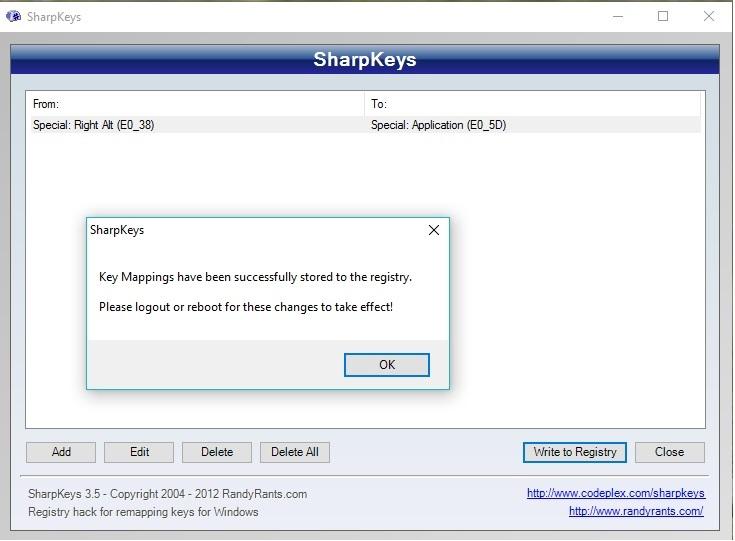 SharpKey - Keyboard Mapping Software