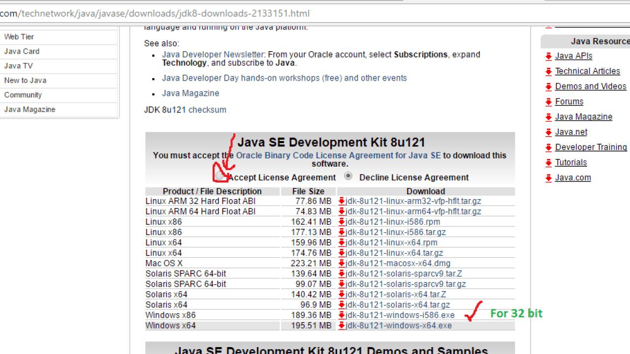 Java SE setup JDK – PRB