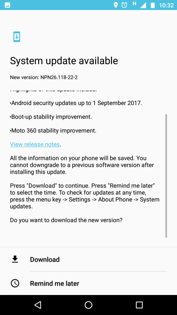 Moto Z Play Update Available - NPN26.118-22-2
