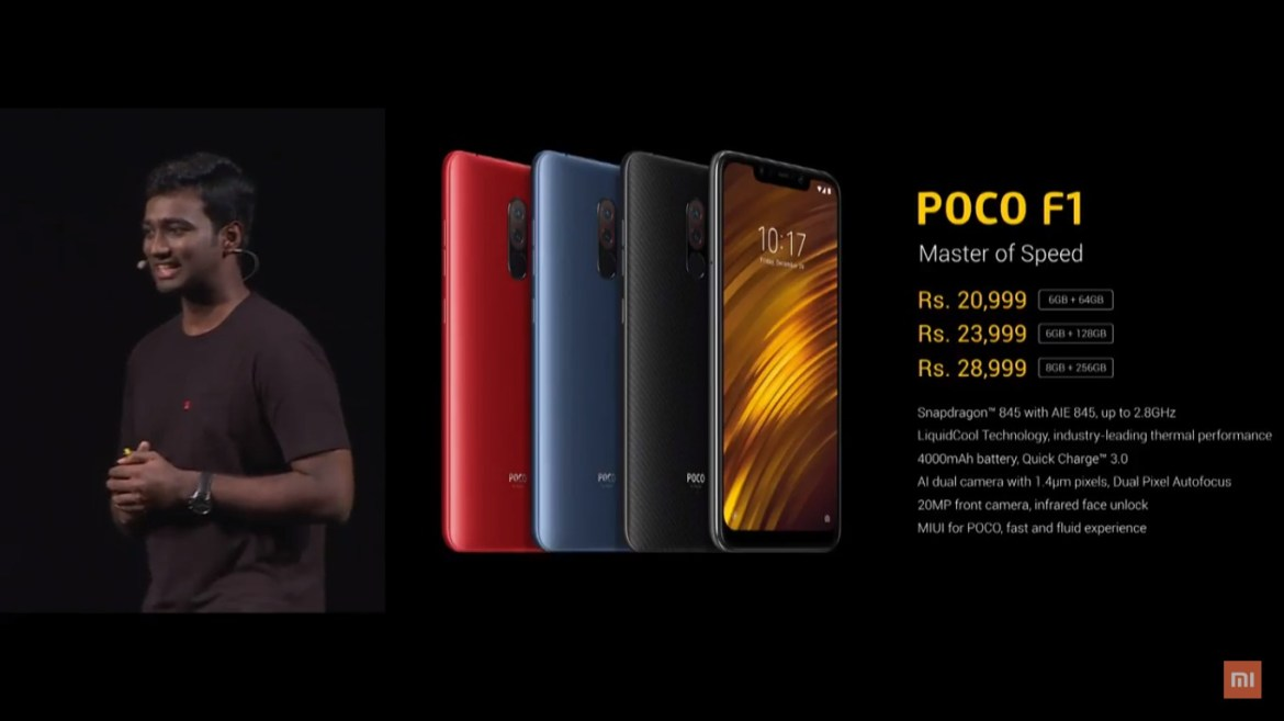 Xiaomi POCOPHONE POCO F1 Variant and Pricing