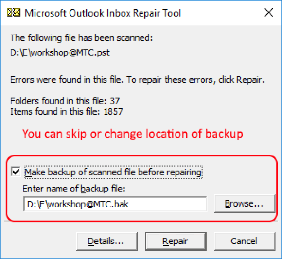 Microsoft Outlook Inbox Repair Tool - SCANPST Backup Notification