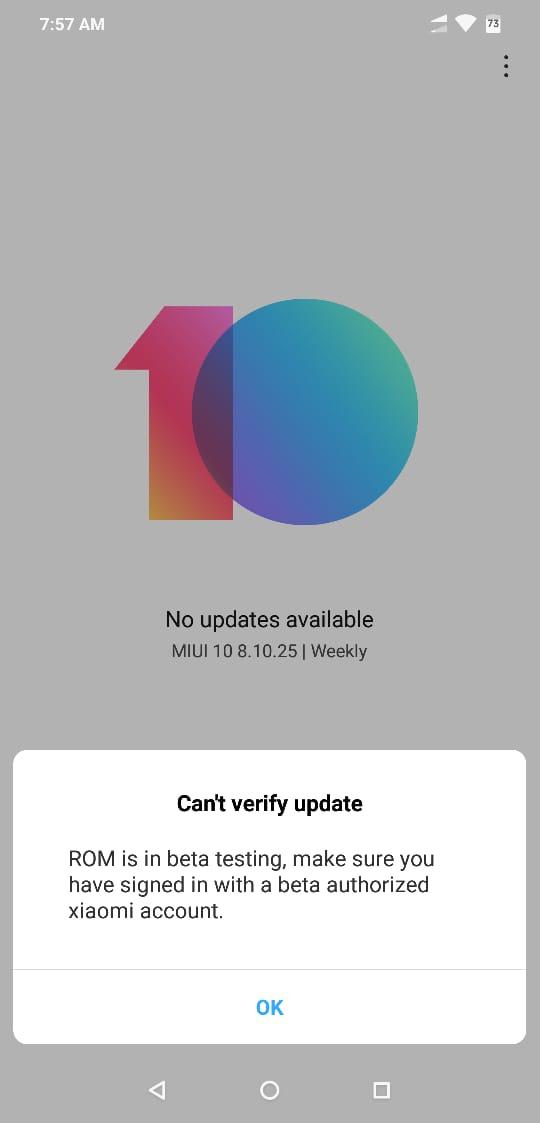 POCO F1 MIUI 10 based Android P Install error for non beta members