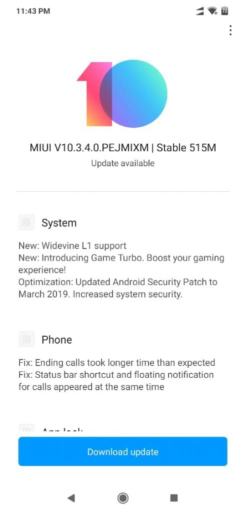 MIUI V10.3.4.0 PEJMIXM