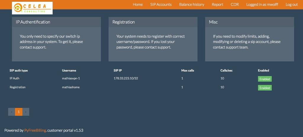 PyFreeBilling : billing and routing VoIP softswitch - Customer panel