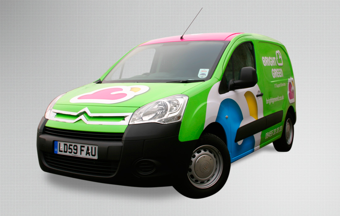 A fun, eye-catching van wrap for Bright Green by Pylon Design