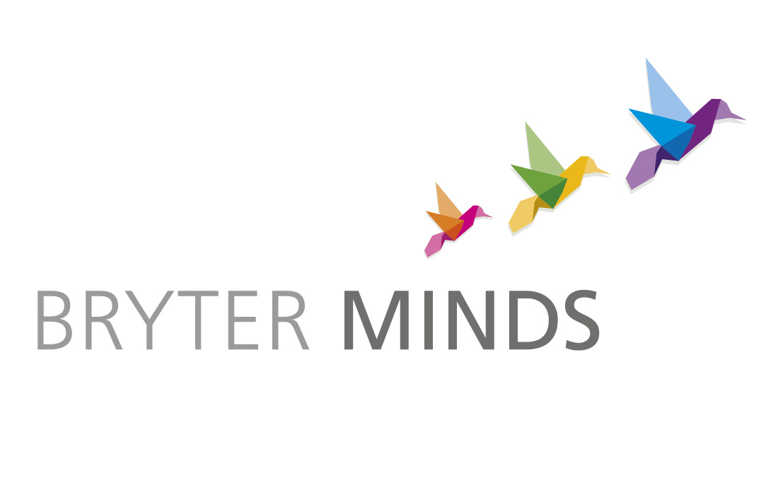 Colourful origami birds formed Bryter Minds logo by Pylon Design