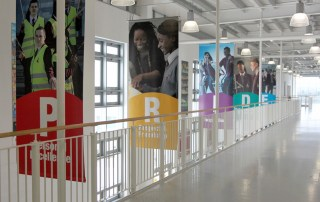 Five striking atrium banners for Conisborough College by Pylon Design