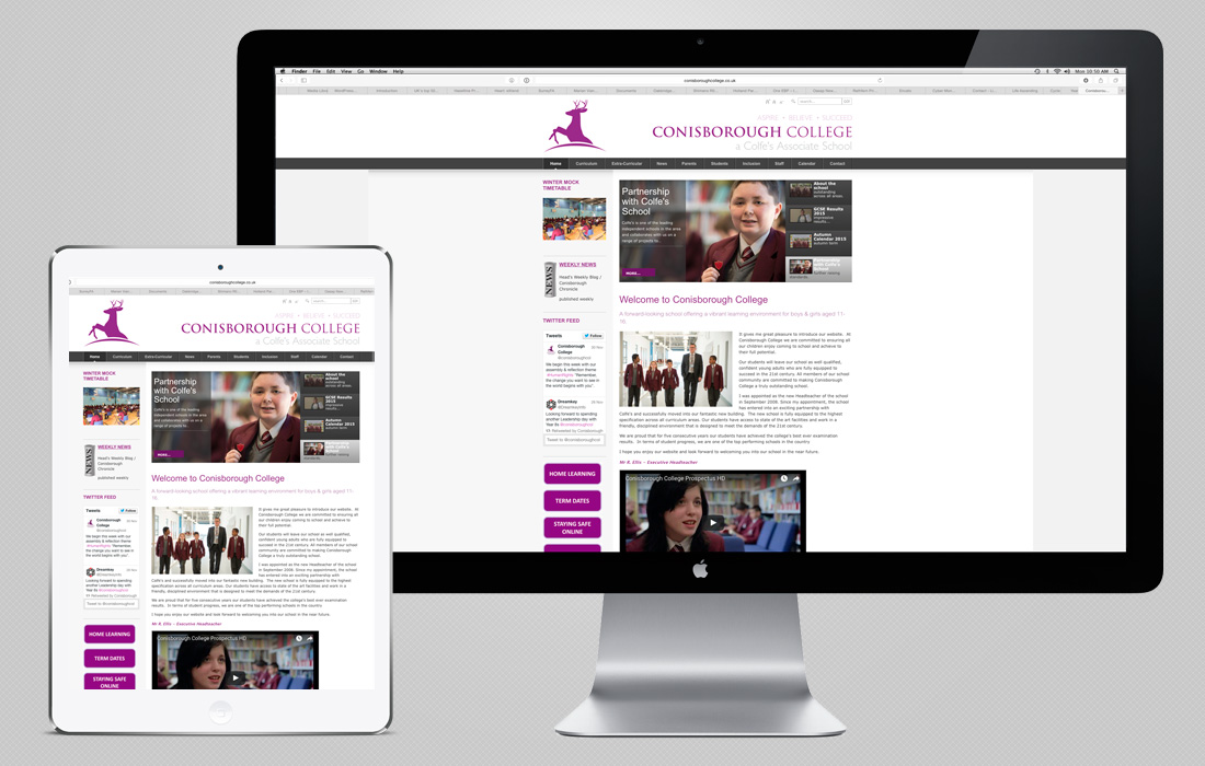 A modern, content managed site for Conisborough College by Pylon Design
