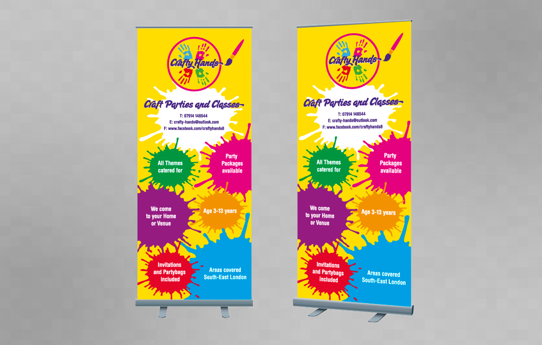 Crafty Hands pull-up banners by Pylon Design