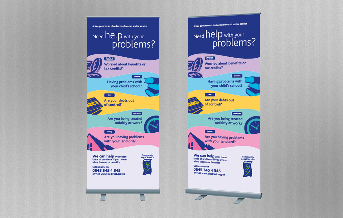 Colour coded pull-up banners for the CLS by Pylon Design