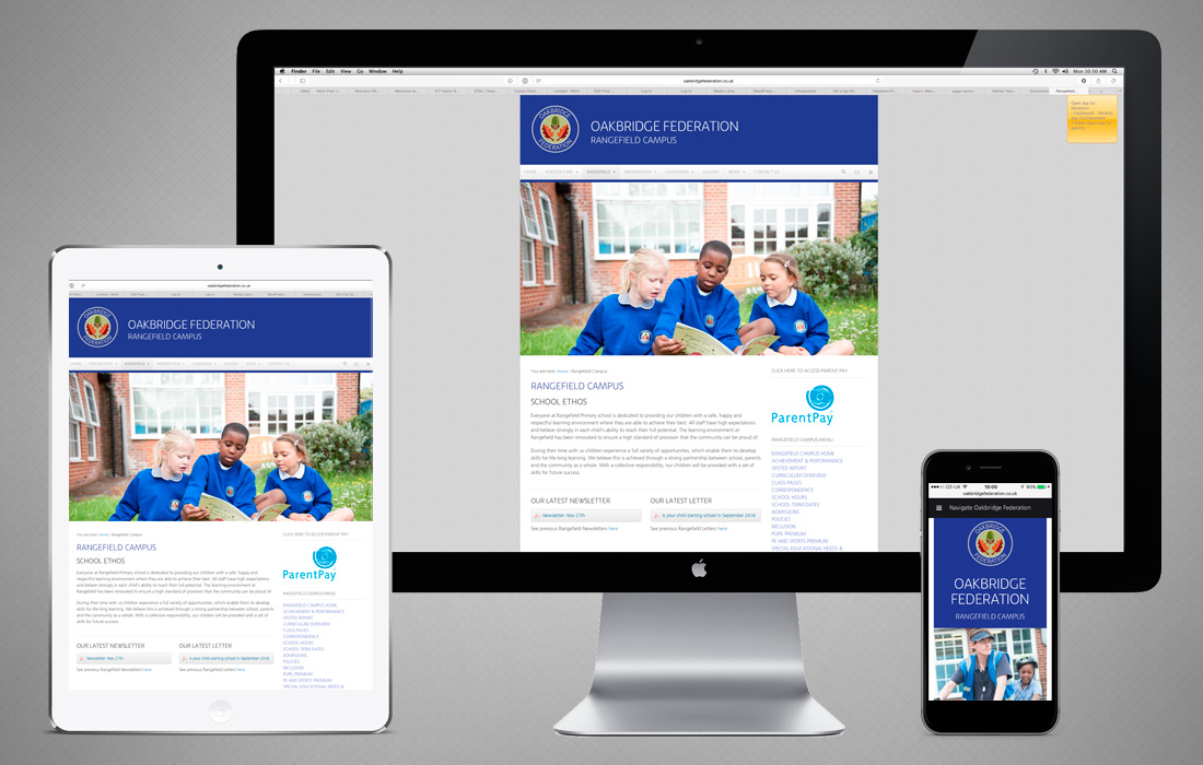 A fully responsive website for the Oakbridge Federation designed and built by Pylon Design