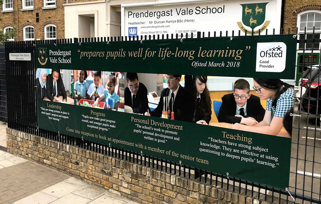 Prendergast Vale School in London Ofsted banner