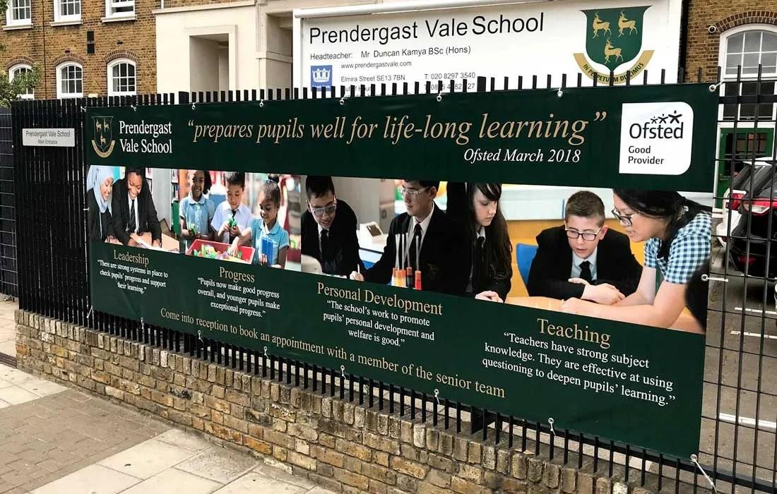 Prendergast Vale School in London Ofsted banner