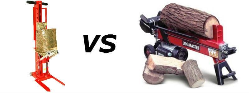 manual log splitter vs powered log splitter.