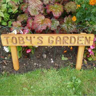 Personalised handmade garden sign, stained and varnished,