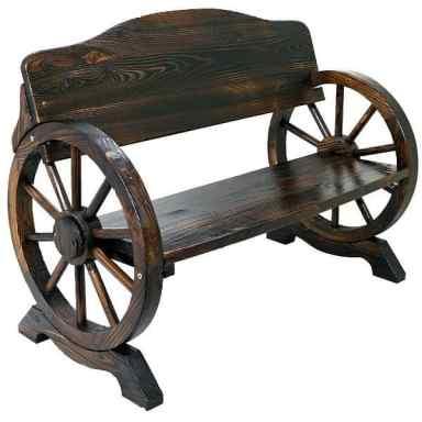 Solid Wood Cart Wagon Wheel Garden Bench gift idea