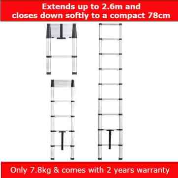 Best telescopic ladders - Vonhaus 2.6, Soft Close Telescopic ladder Review