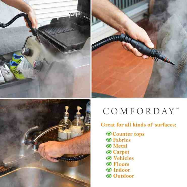 comforday handheld steam cleaner in use