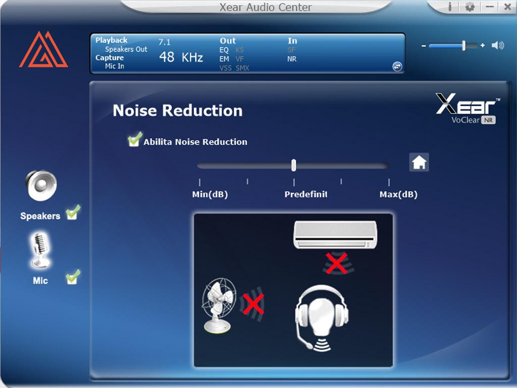 Immagine del software MyPg Audio dove puoi regolare il volume di ascolto e il volume del microfono della cuffia PGH20