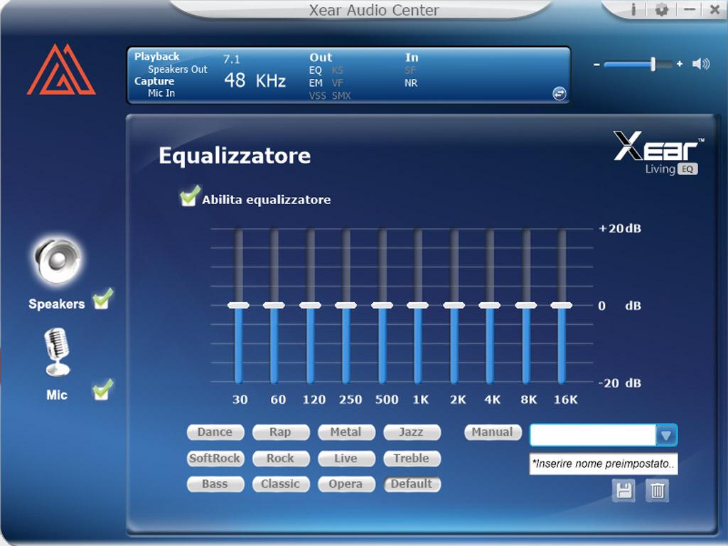 Immagine del software MyPg Audio dove puoi eliminare i rumori esterni per la cuffia PGH20