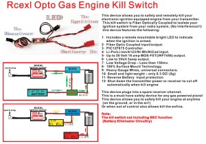 New Rcexl Opto Gas Engine Kill Switch RCEKSV12 for RC Gas