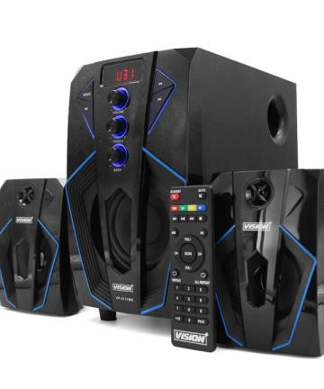 Electronics Vision plus 2.1ch speaker with subwoofer bluetooth 45 watts rms – black [tag]