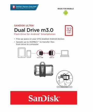 Computer Data Storage SanDisk Ultra 32GB Dual Drive m3.0 for Android Devices and Computers [tag]