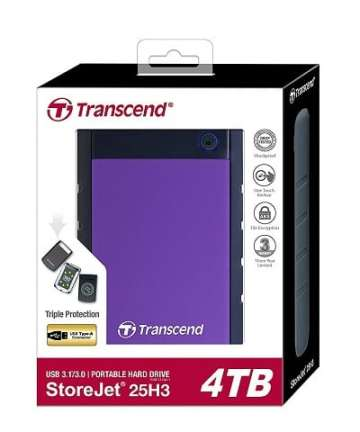 Computer Data Storage TRANSCEND Storejet 25M3 Hard Disk 4TB, USB 3.1 External Hard Drive [tag]