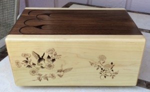 tongue drum wood burn pyrography flower