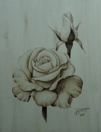 Rose flower wood burning pyrography by bmj