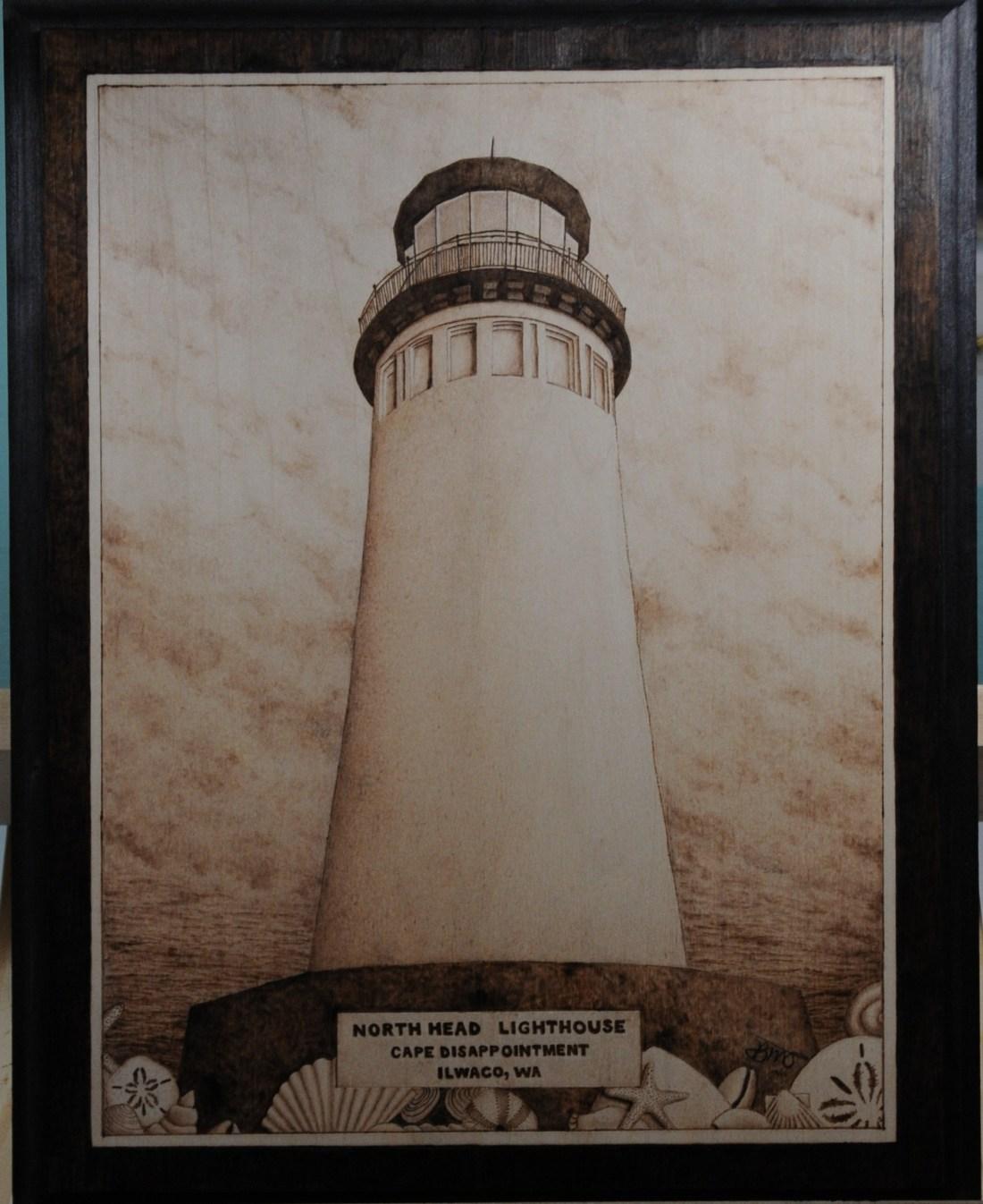 Ilwaco wa lighthouse wood burning pyrography