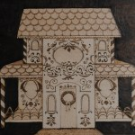 wood buring of the gingerbread house