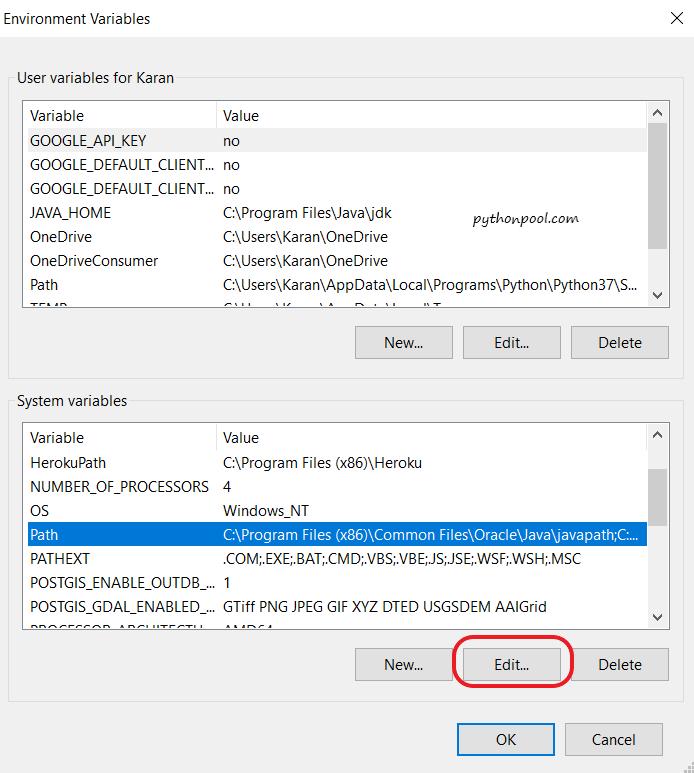 Edit Environment Variable - Python Pool