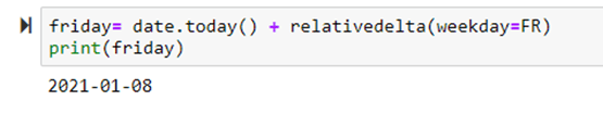 Getting a particular weekday Using relativedelta() in Python