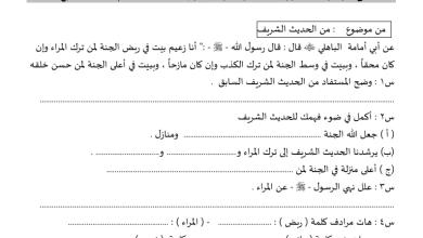 Photo of أسئلة على الموضوعات المقررة لغة عربية الصف السابع مدرسة ابن النفيس 2015-2016