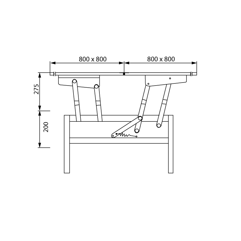 ferrure pour table basse transformable a 2 plateaux pliants