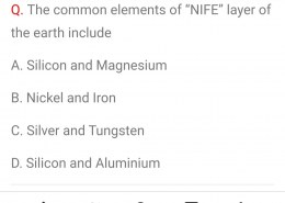 """The common elements of """"NIFE"""" layer of the earth include?"""