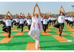 Which International Yoga Day event created a Guinness World Record?