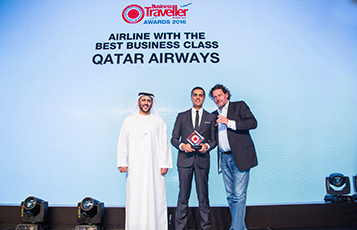 Mr. Ishfaq Jalal (centre), Vice President - GCC, Levant, Iran, Iraq & Yemen at Qatar Airways, collected the award for Airline with the Best Business Class