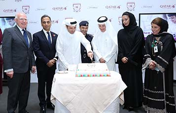 The ceremony concluded with a cake-cutting by (from left); Chairman of Orbital Education, Mr. Kevin McNeany; British Ambassador to the State of Qatar, H.E. Mr. Ajay Sharma; H.E. Dr. Mohammed Al Hammadi, Minister of Education and Higher Education; Brigadier Ibrahim Abdulrahman Al-Muftah; Qatar Airways Group Chief Executive, H.E. Mr. Akbar Al Baker; Qatar Airways Board Director, Sheikha Hanoof Al Thani and Qatar Airways Senior Vice President of Human Resources, Ms. Nabeela Fakhri.