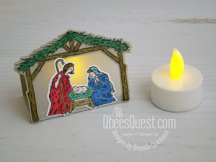 Stampin' Up Peaceful Nativity Tea Light Holder