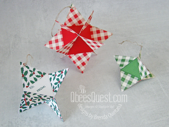 Stampin Up Stitched Triangles Ornaments