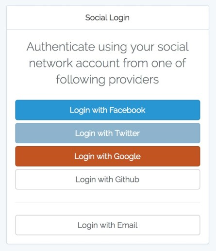 social login screen